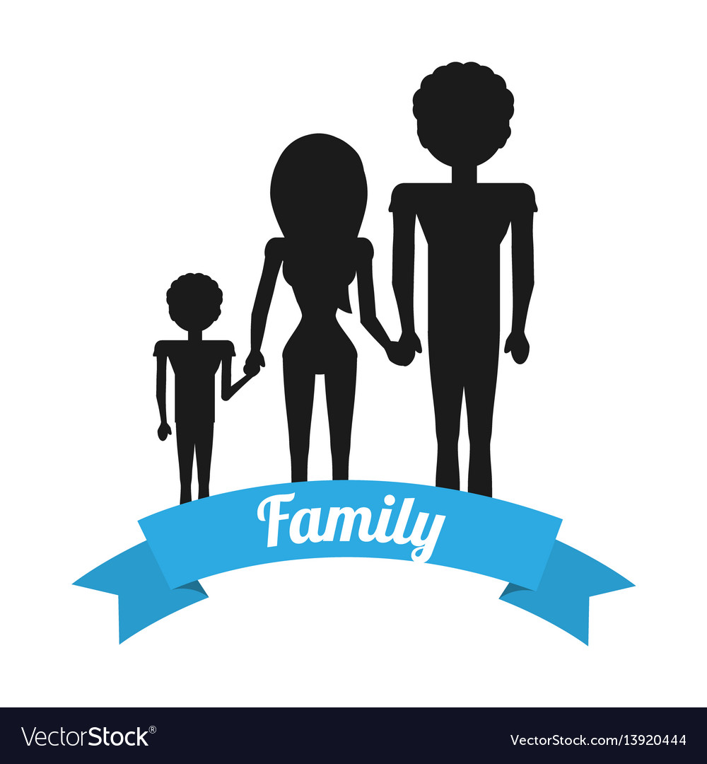 Silhouette family hands holding ribbon
