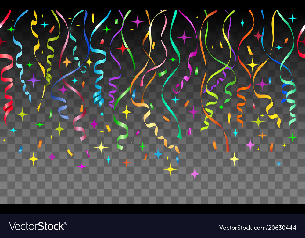 Streamers and confetti transparent background vector image