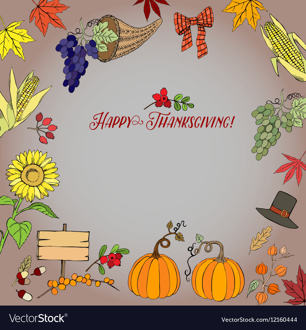 thanksgiving day decorations royalty free vector image rh vectorstock com thanksgiving day door decorations thanksgiving day table decorations