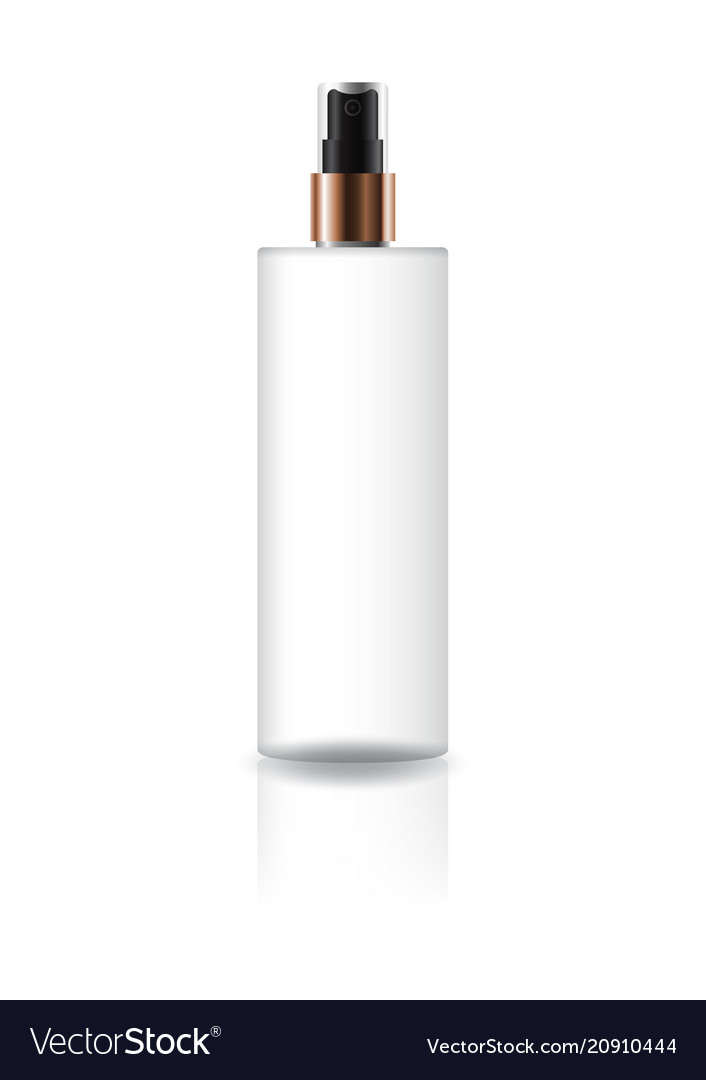 White cosmetic cylinder bottle with spray head