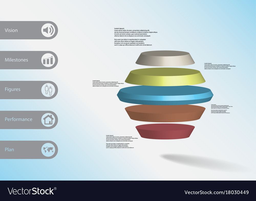 3d infographic template with round hexagon vector image
