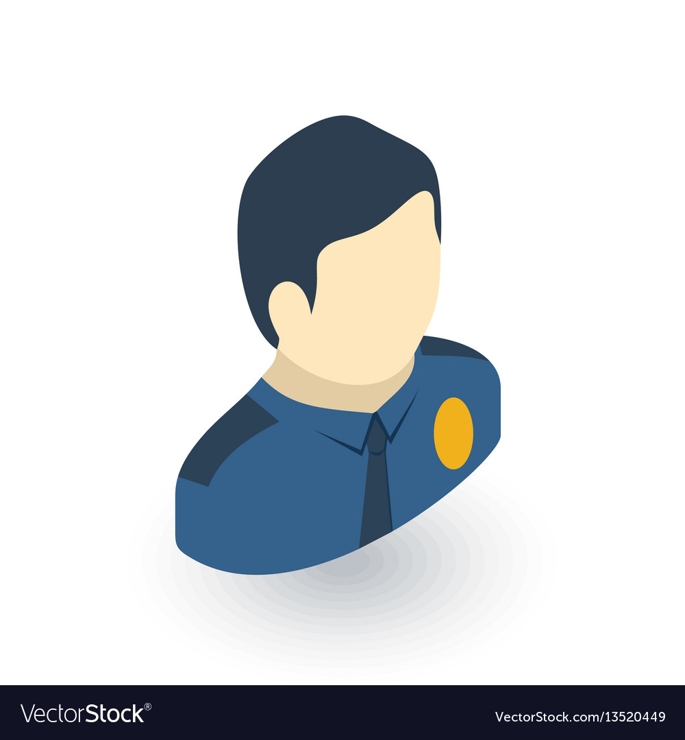 Avatar police officer isometric flat icon 3d