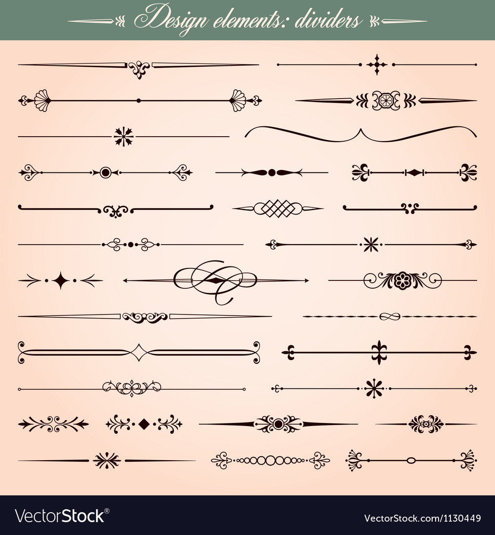 Calligraphic dividers and dashes vector image