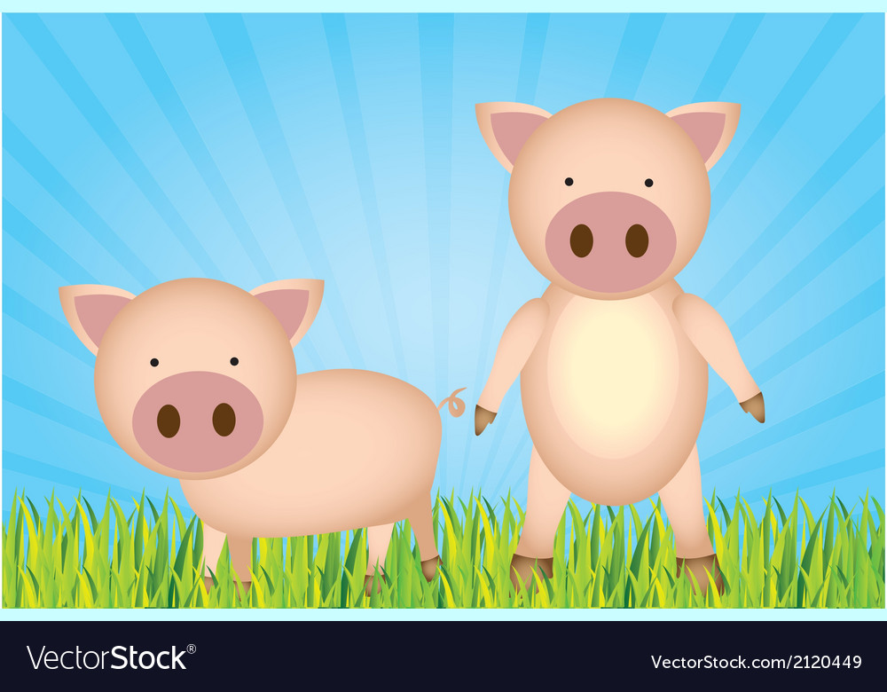 Cute cartoon pigs with grass and sky