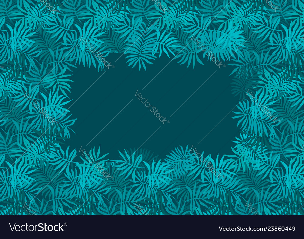 Deep Emerald Green Frame Of Fern Tropical Leaves