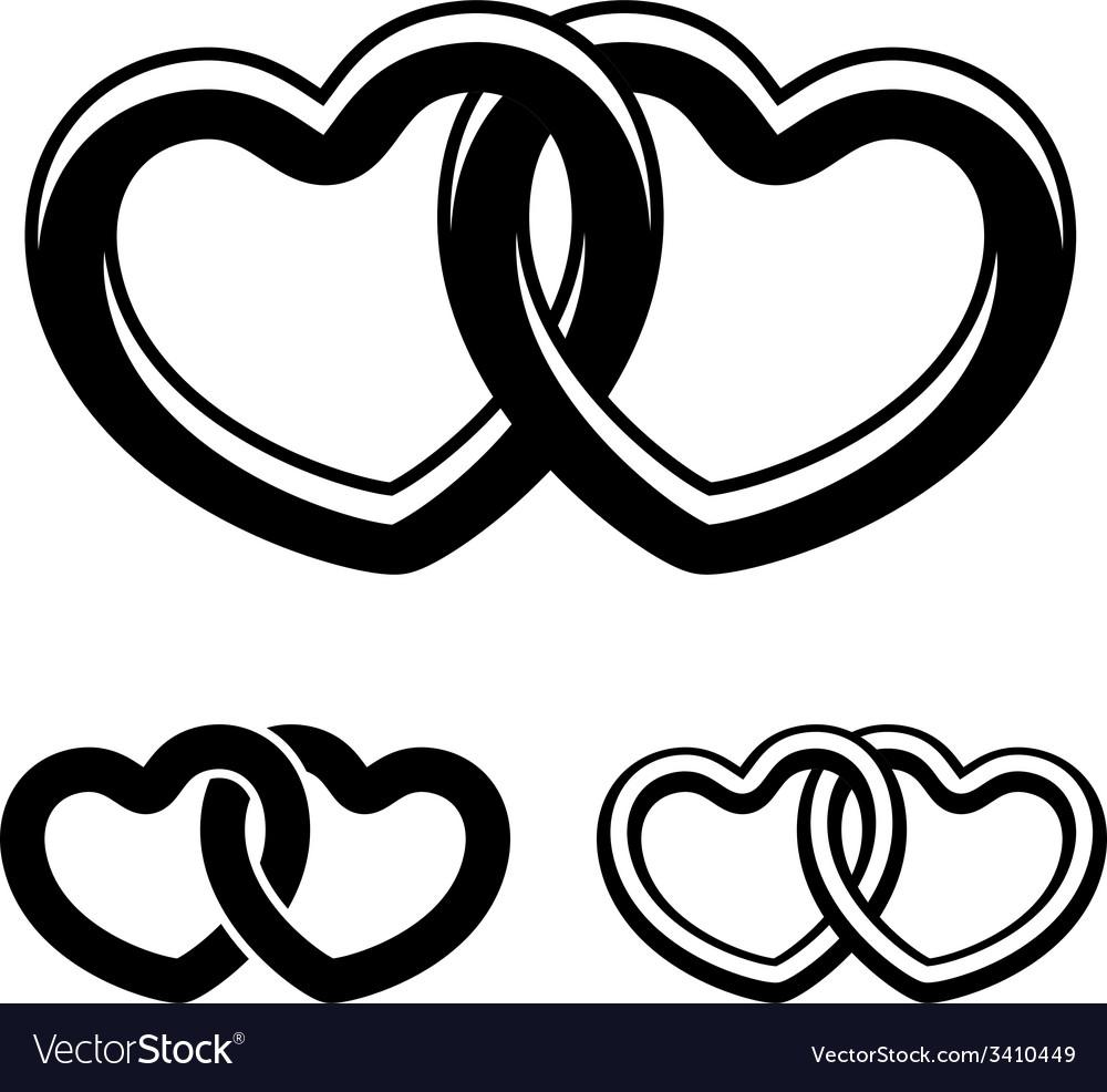 Linked Hearts Black White Symbols Royalty Free Vector Image