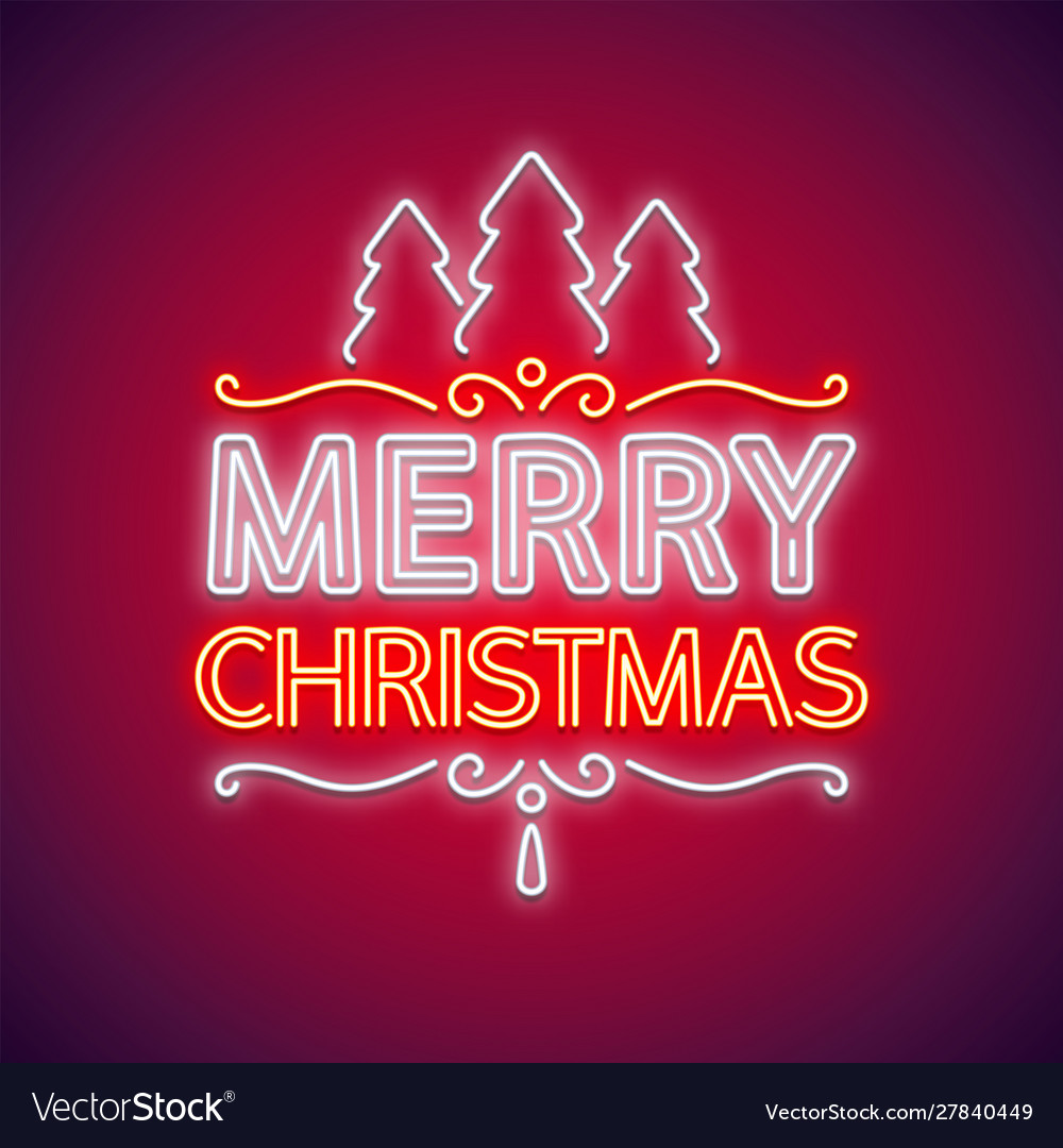 Merry christmas neon sign red with decor