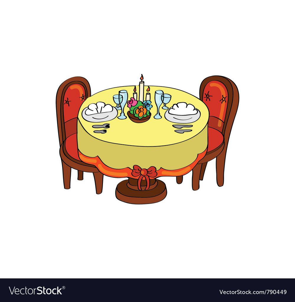 Romantic dinner table Royalty Free Vector Image