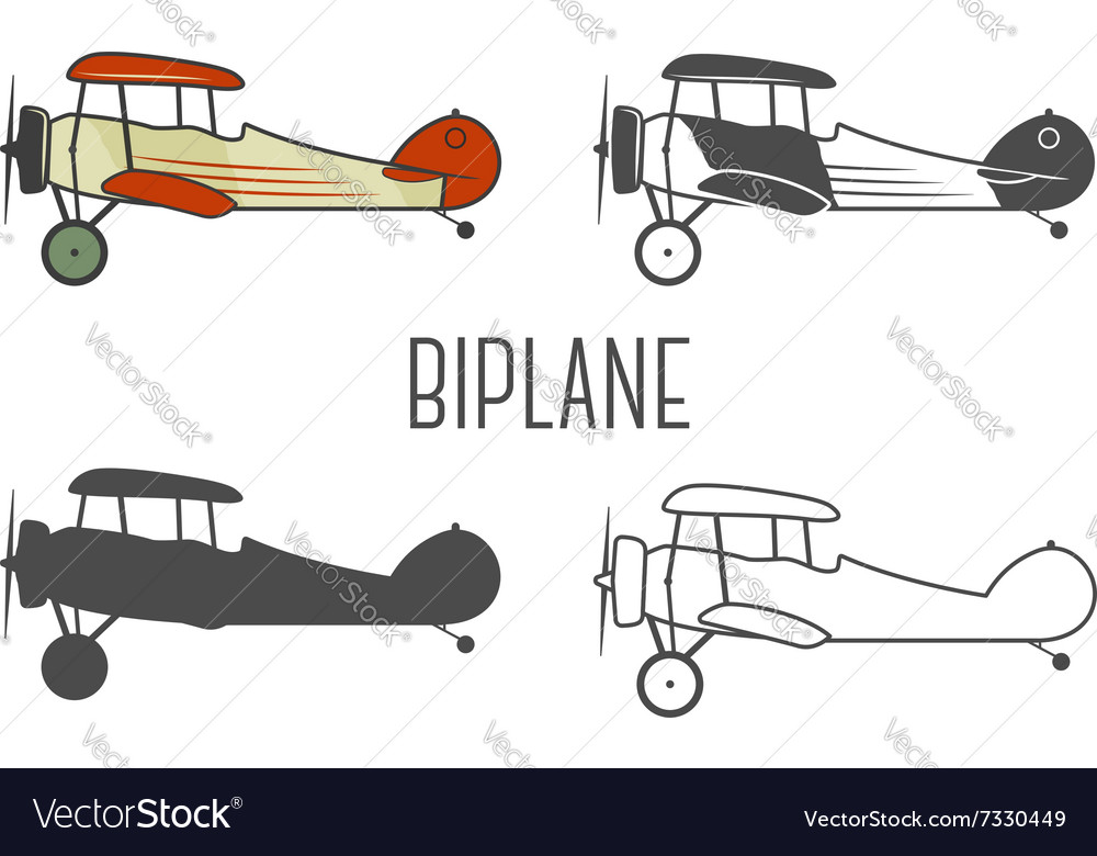 Set vintage aircraft design elements retro