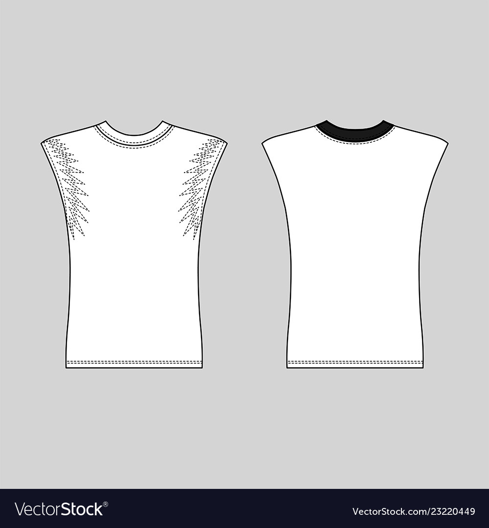 Sleeveless T Shirt Outlined Template Vector Image