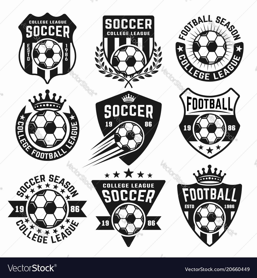 Soccer set black emblems or logos