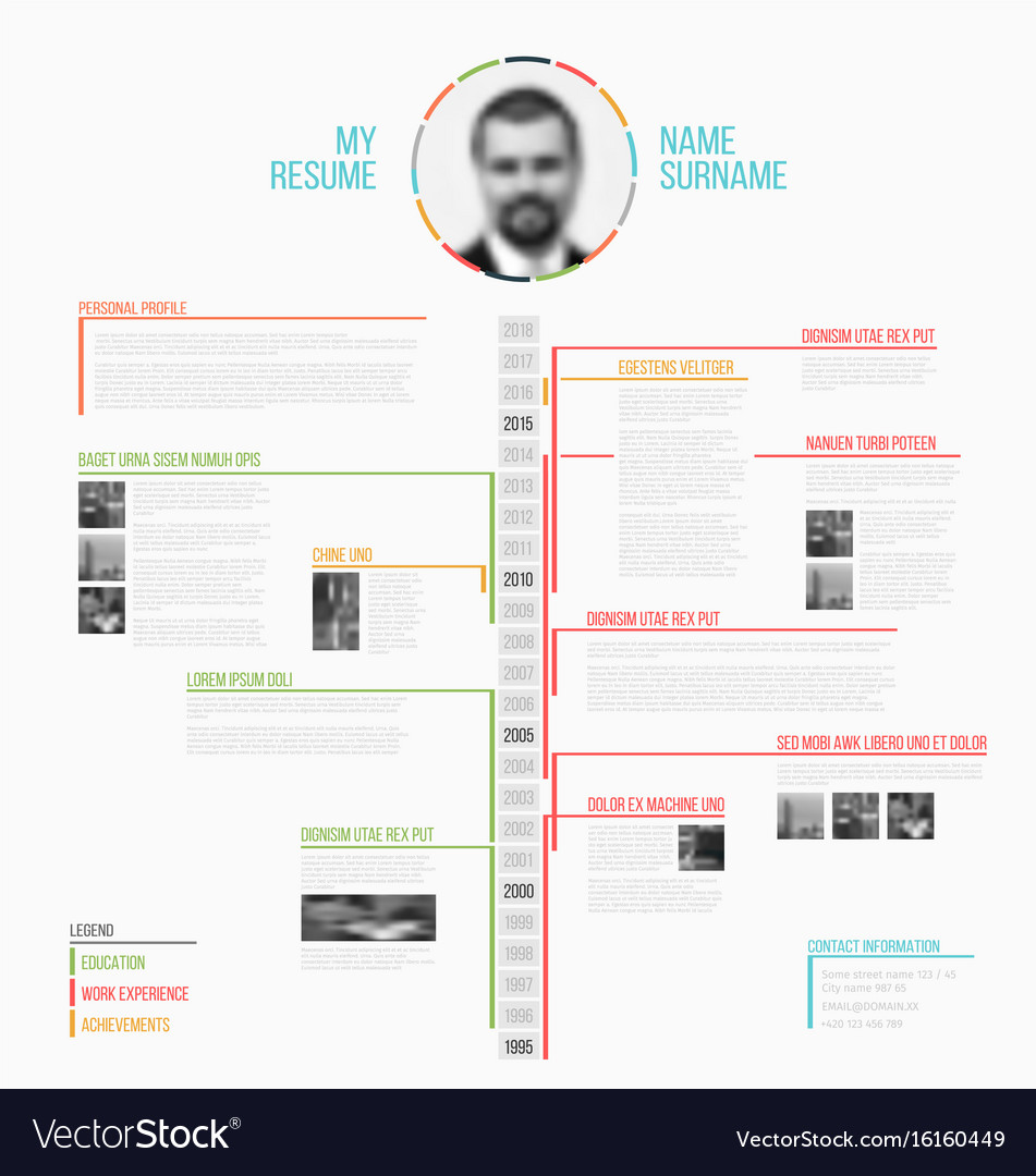 timeline minimalist cv resume template royalty free vector