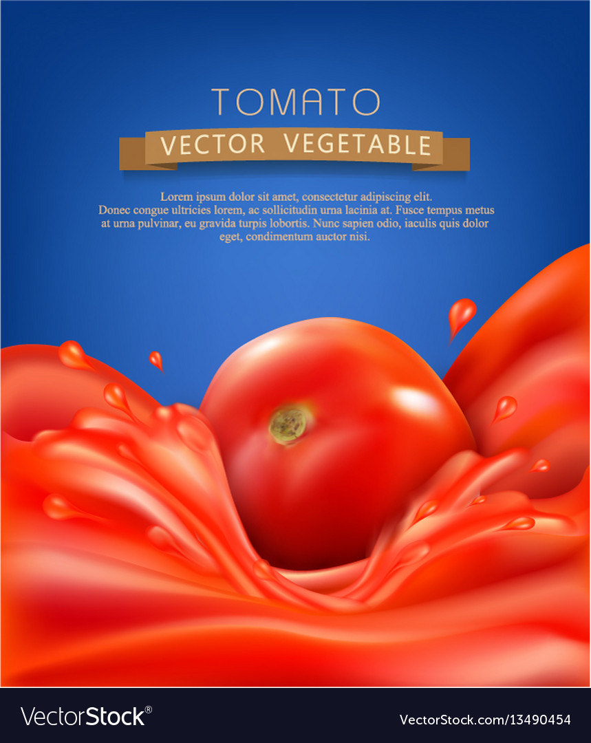 Background with splashes waves of red tomato