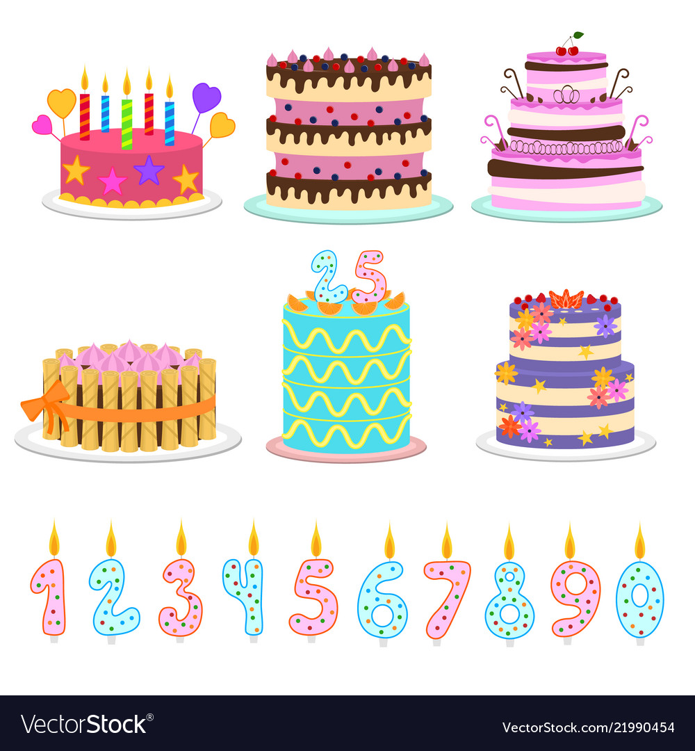 Cartoon color birthday cakes and elements icon set