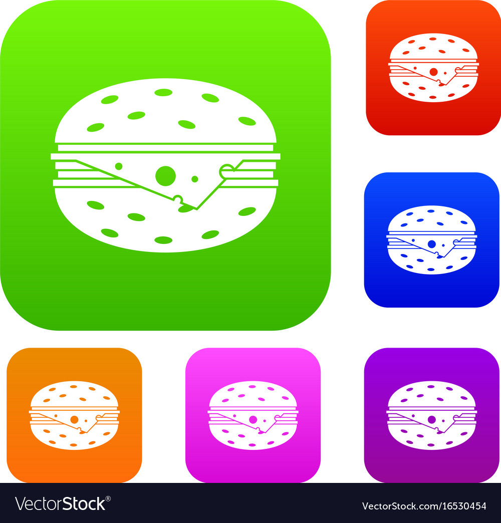 Cheeseburger set collection vector image