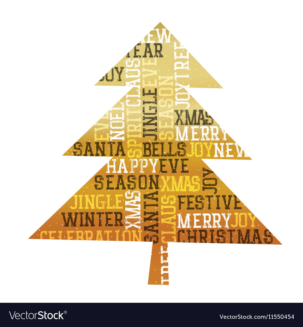 Foil Christmas Tree.Christmas Tree Gold Foil Happy Merry Christmas