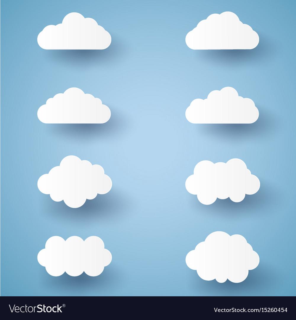 Cloud set paper art style