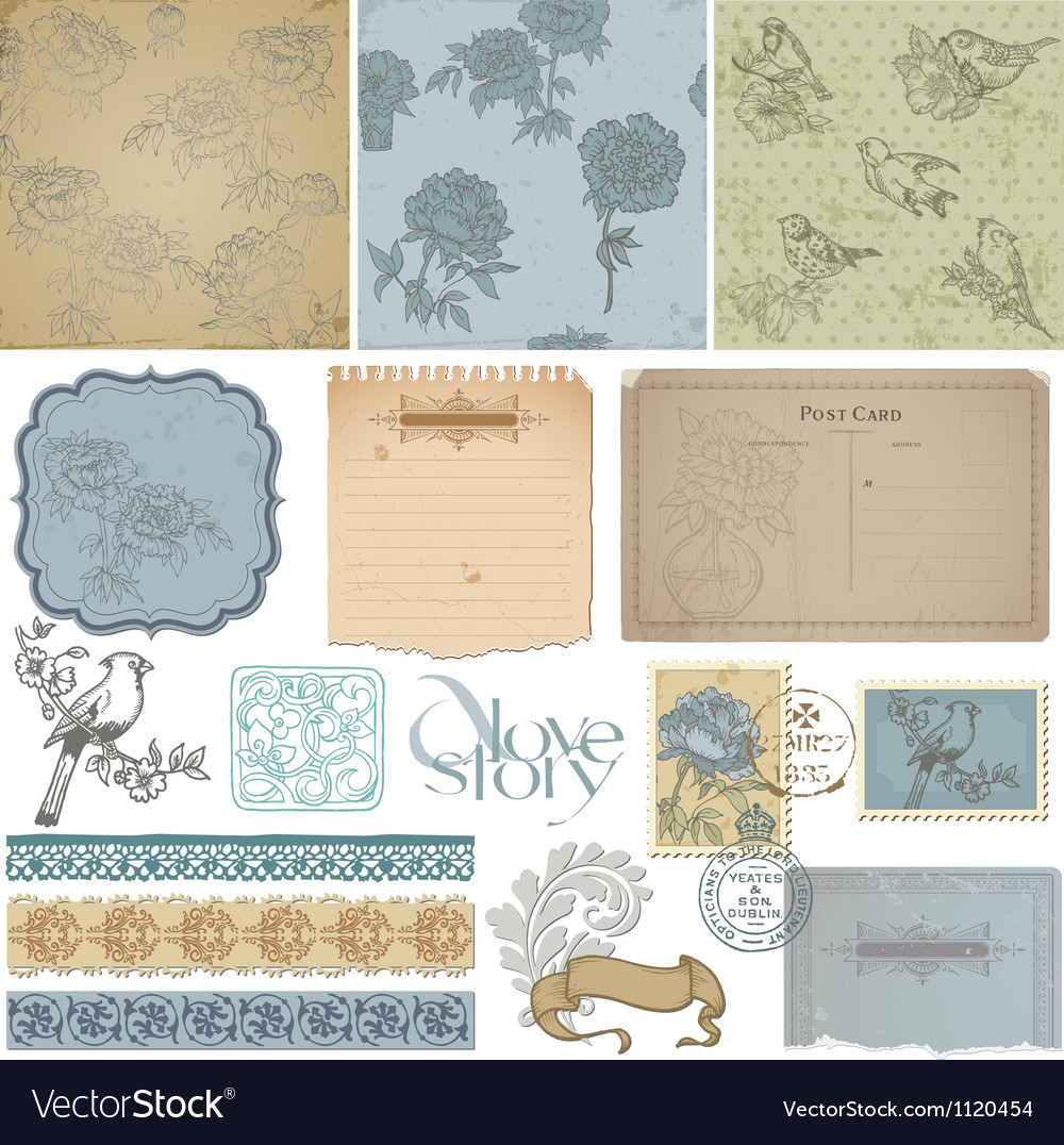 Design elements - Vintage Bird and Peony Set vector image