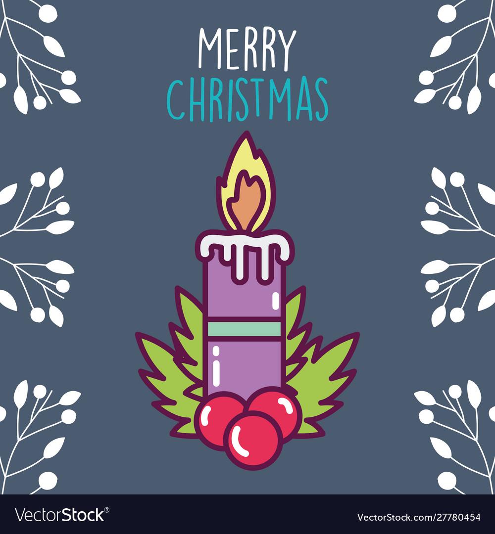 Merry christmas celebration burning candle holly