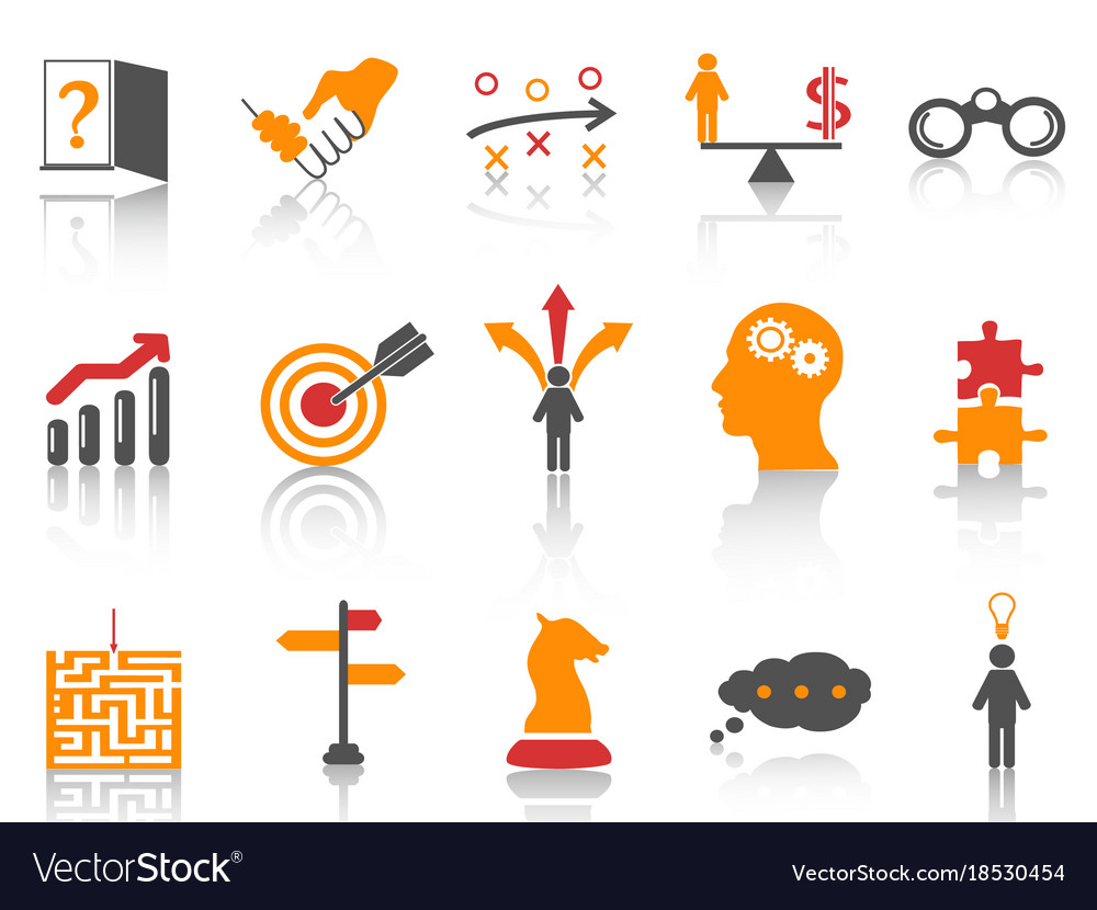 Orange business strategy icons set vector image