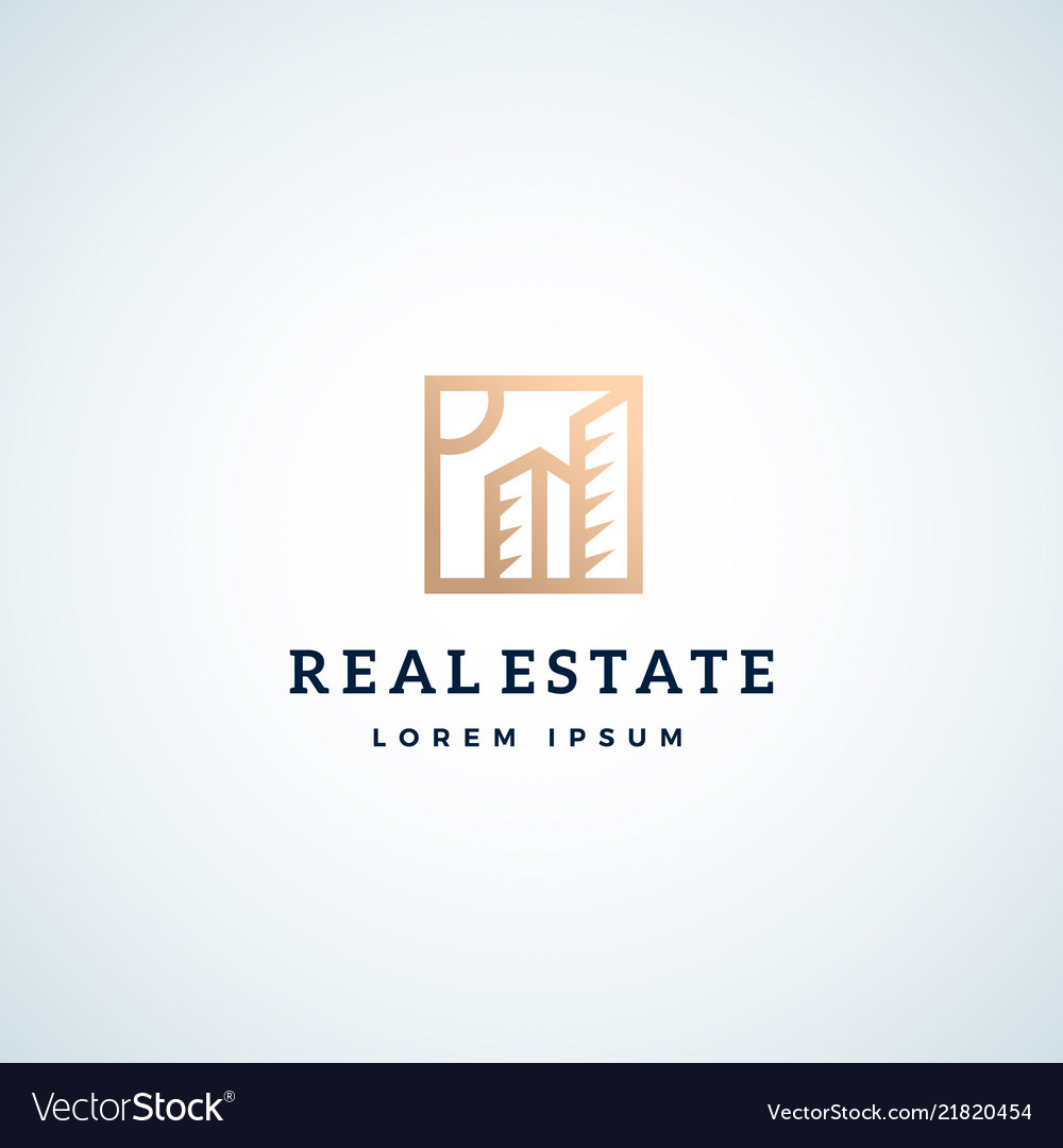 Real estate abstract sign symbol or logo