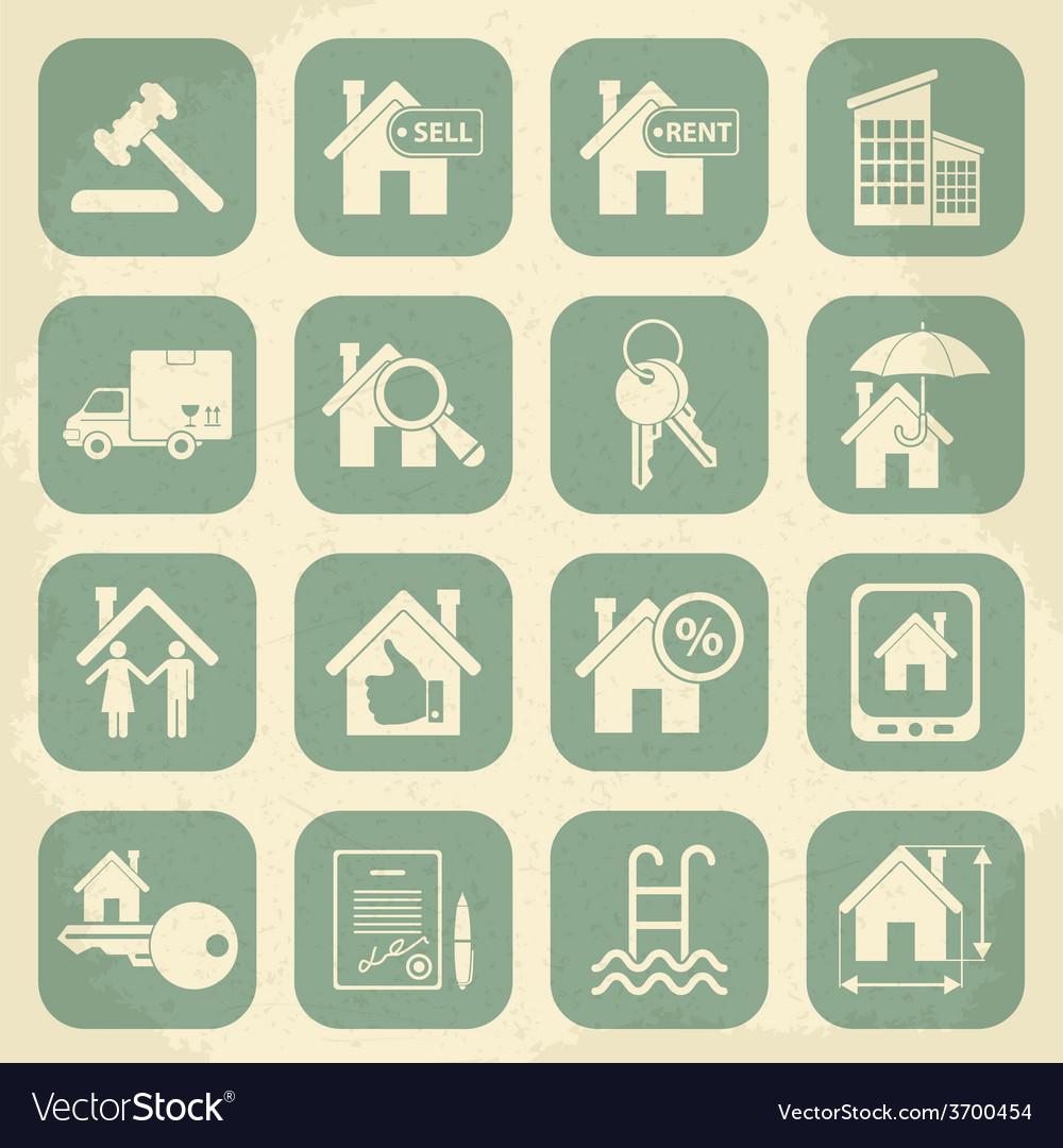 Real estate retro icon set