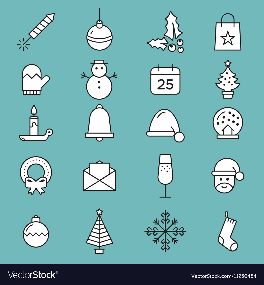 Set of flat outlined Christmas icons variable line
