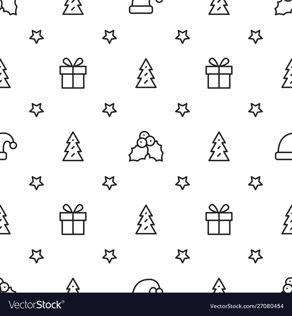 Simple christmas seamless pattern with symbols