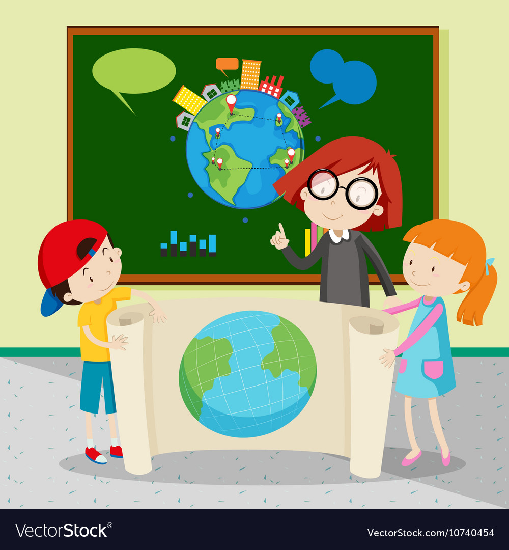 Students Holding Large World Map Royalty Free Vector Image