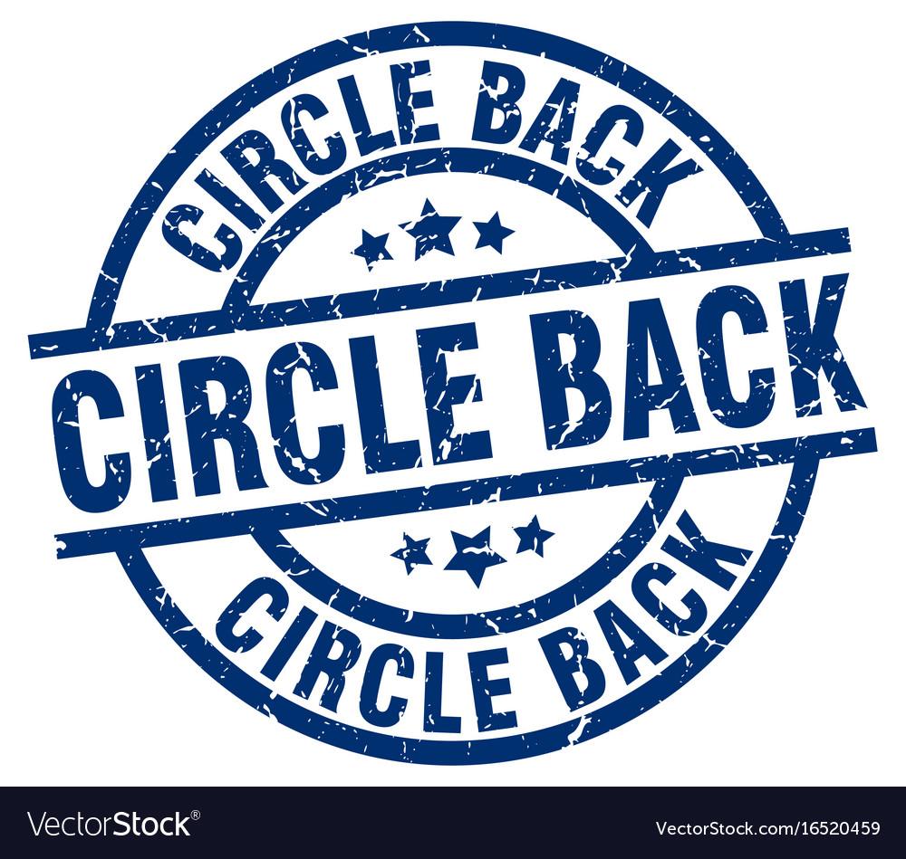 Circle back blue round grunge stamp