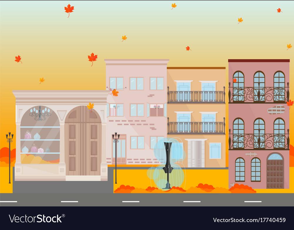 City buildings in autumn season background