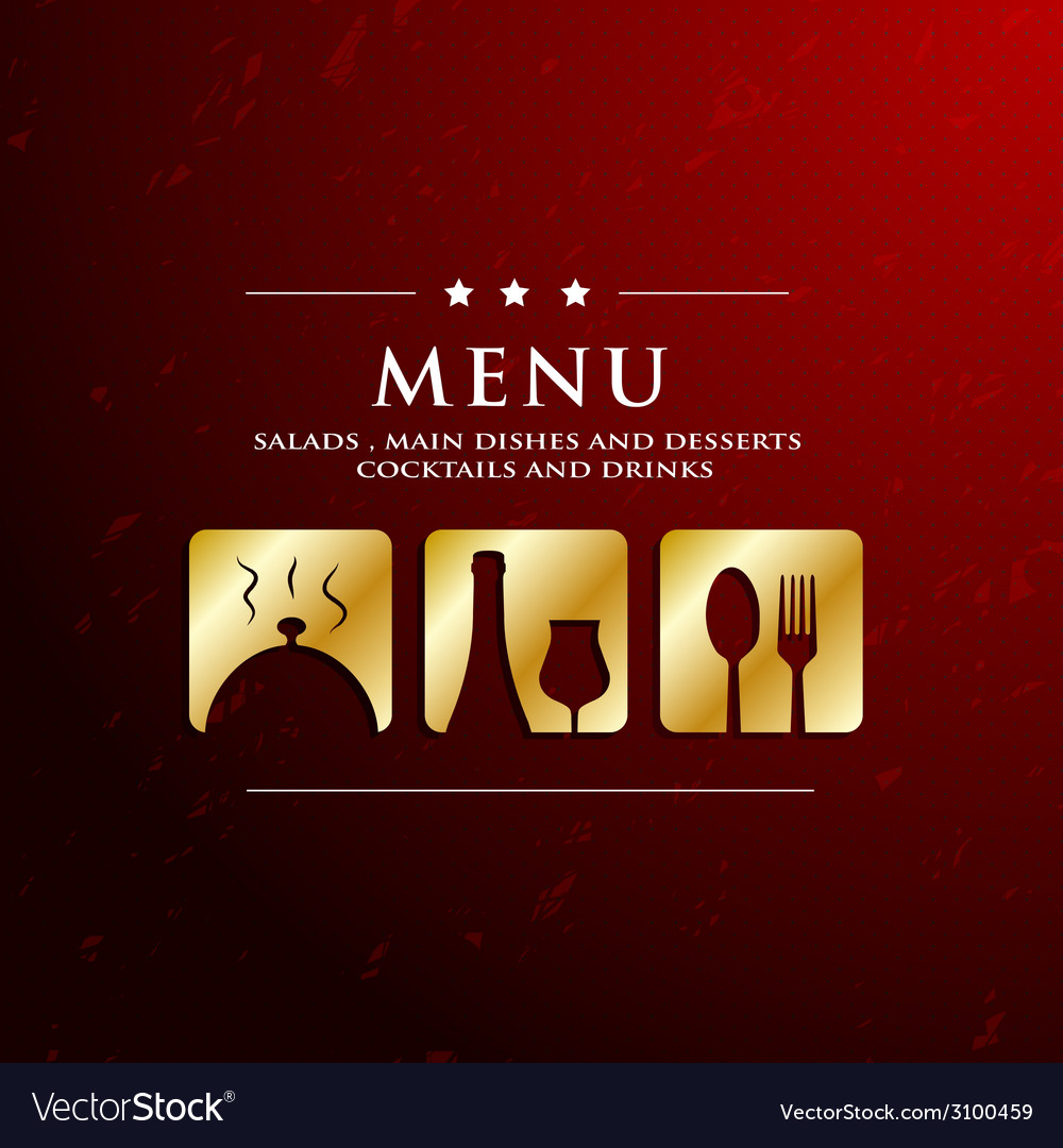Menu restaurant with golden icon in ground vector image