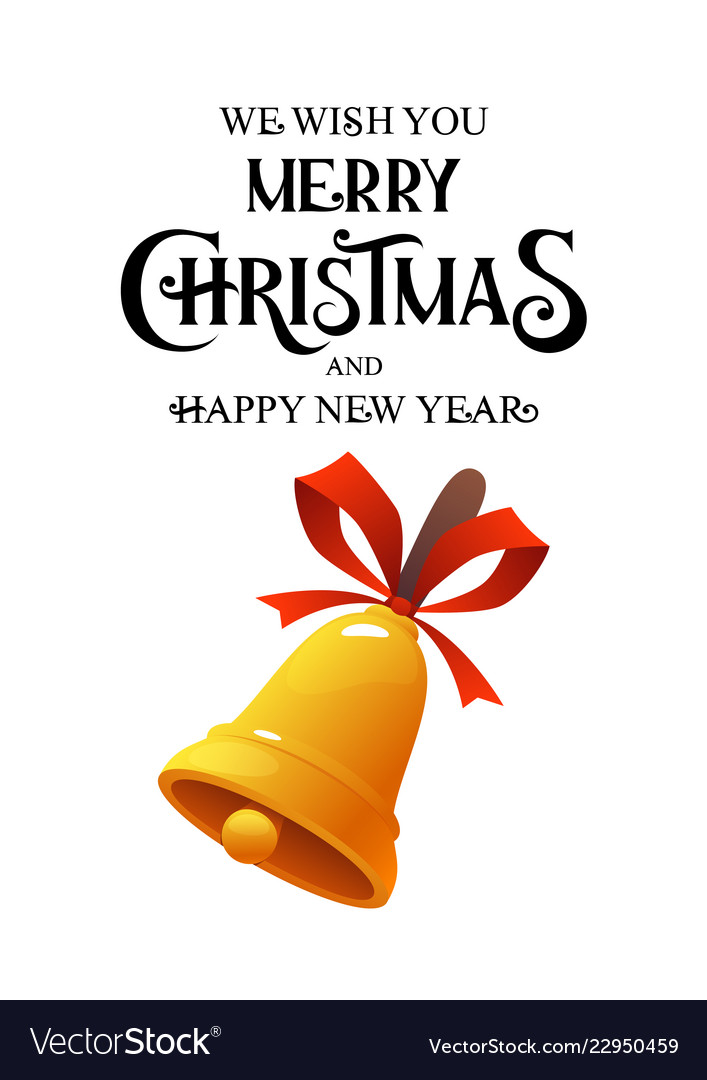 Merry christmas vintage gold bell on white