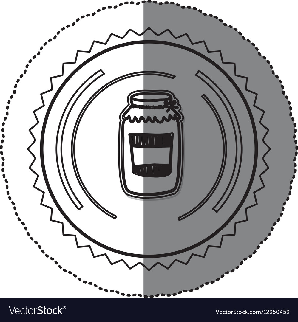 Monochrome sticker round frame with glass jam vector image