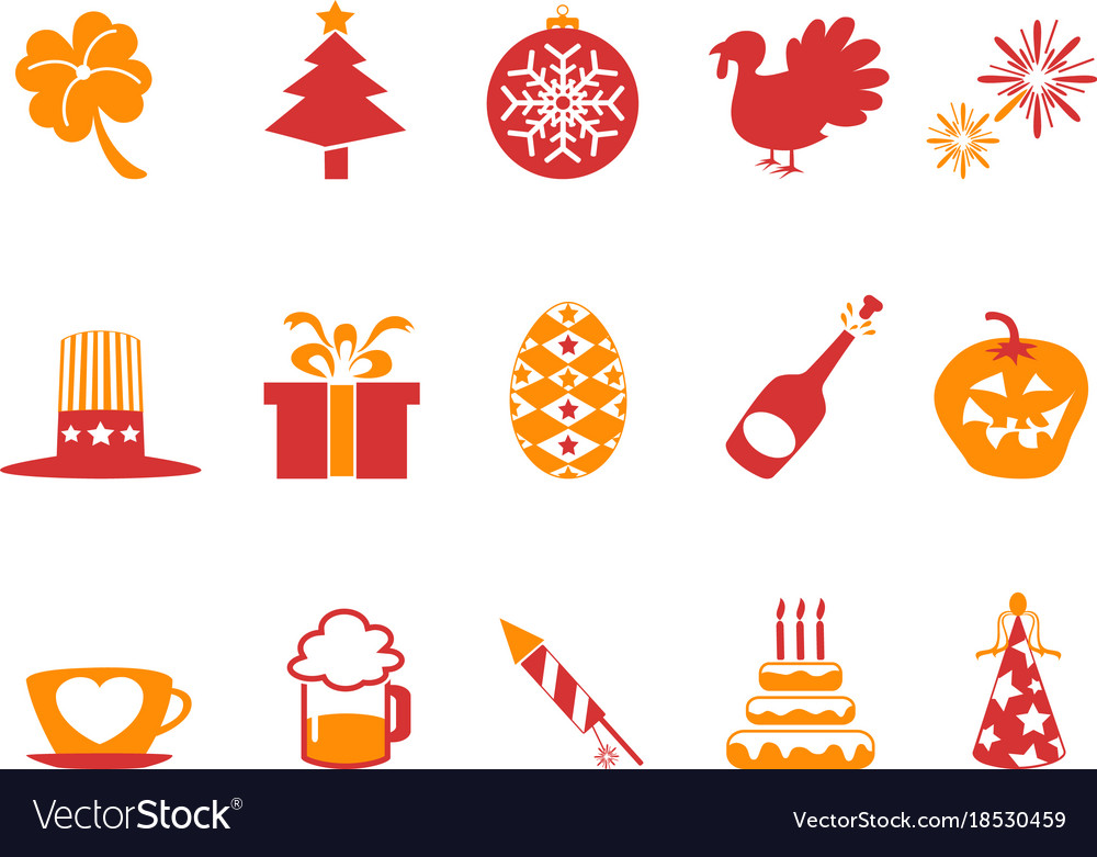 Orange red color holiday icons set