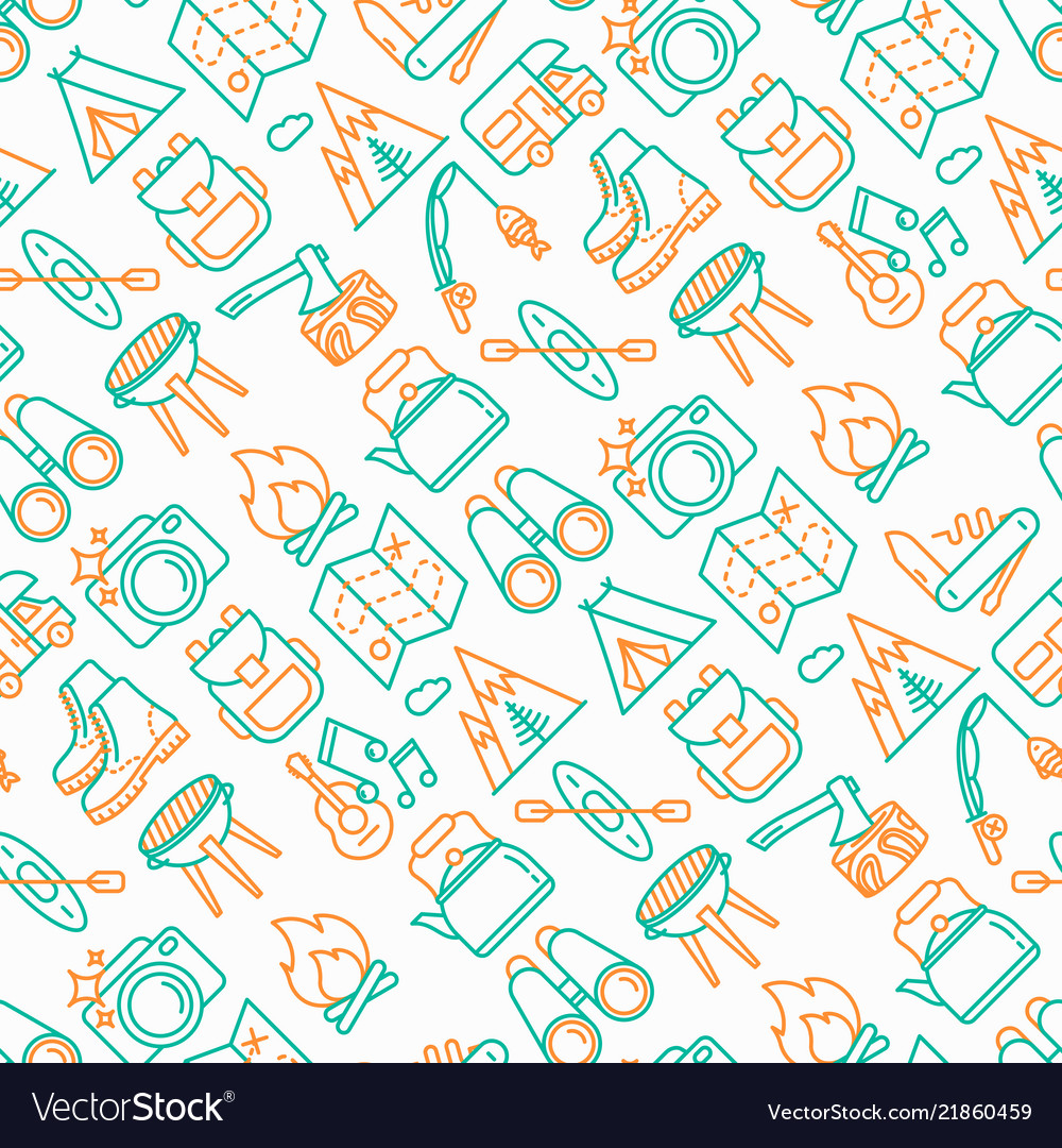 Outdoor seamless pattern with thin line icons