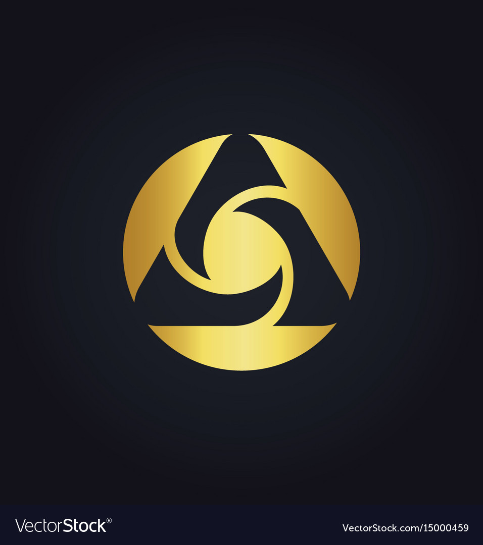 Round circle media technology abstract gold logo