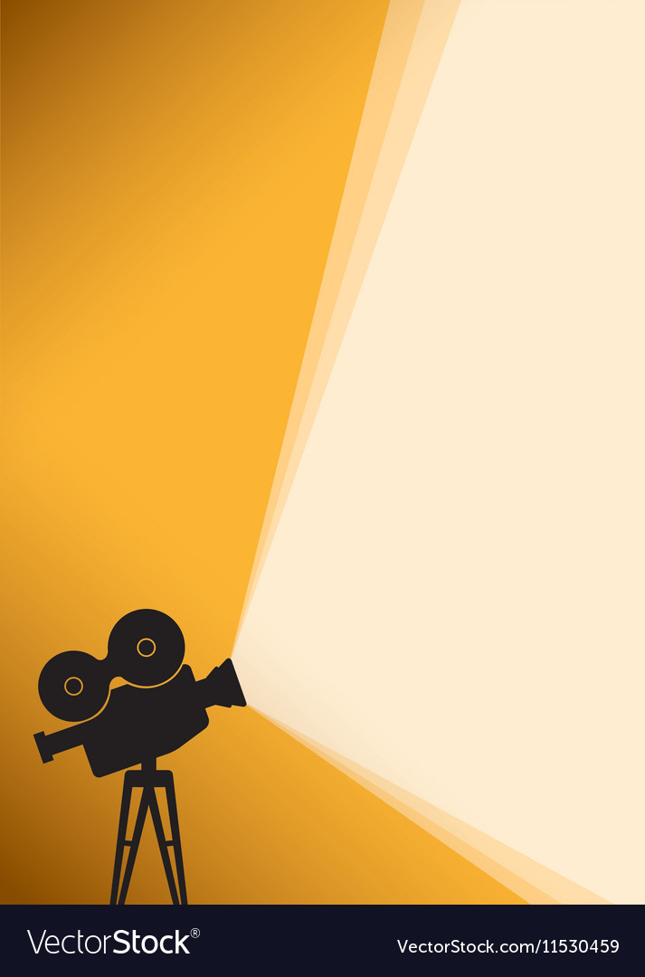 Silhouette of Cinema camera on yellow banner