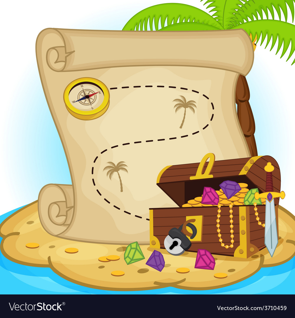 Treasure map and treasure chest on island