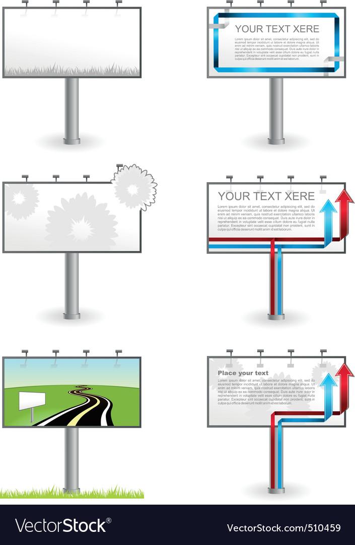 Vector advertising outdoor blank billboards set