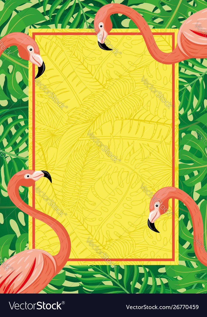 Vertical banner with flamingo birds