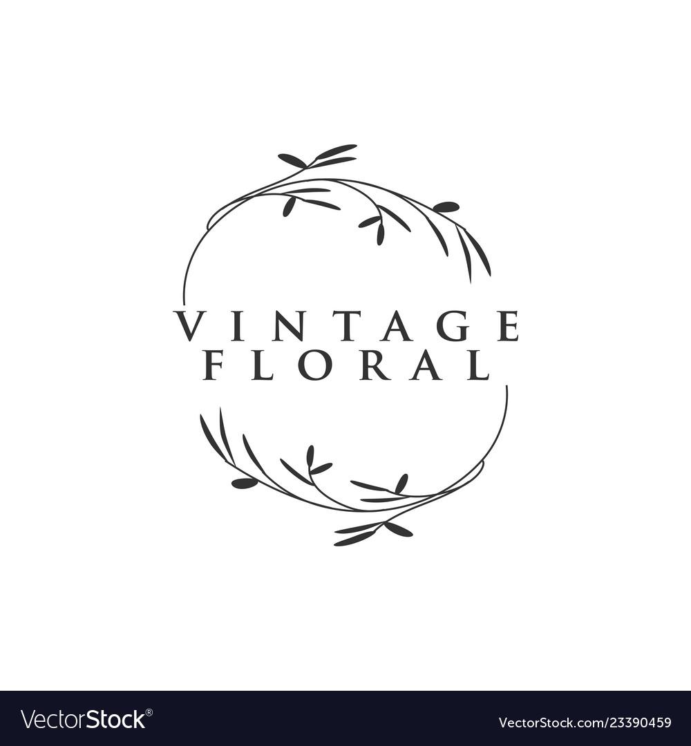 Vintage floral logo icon element design template