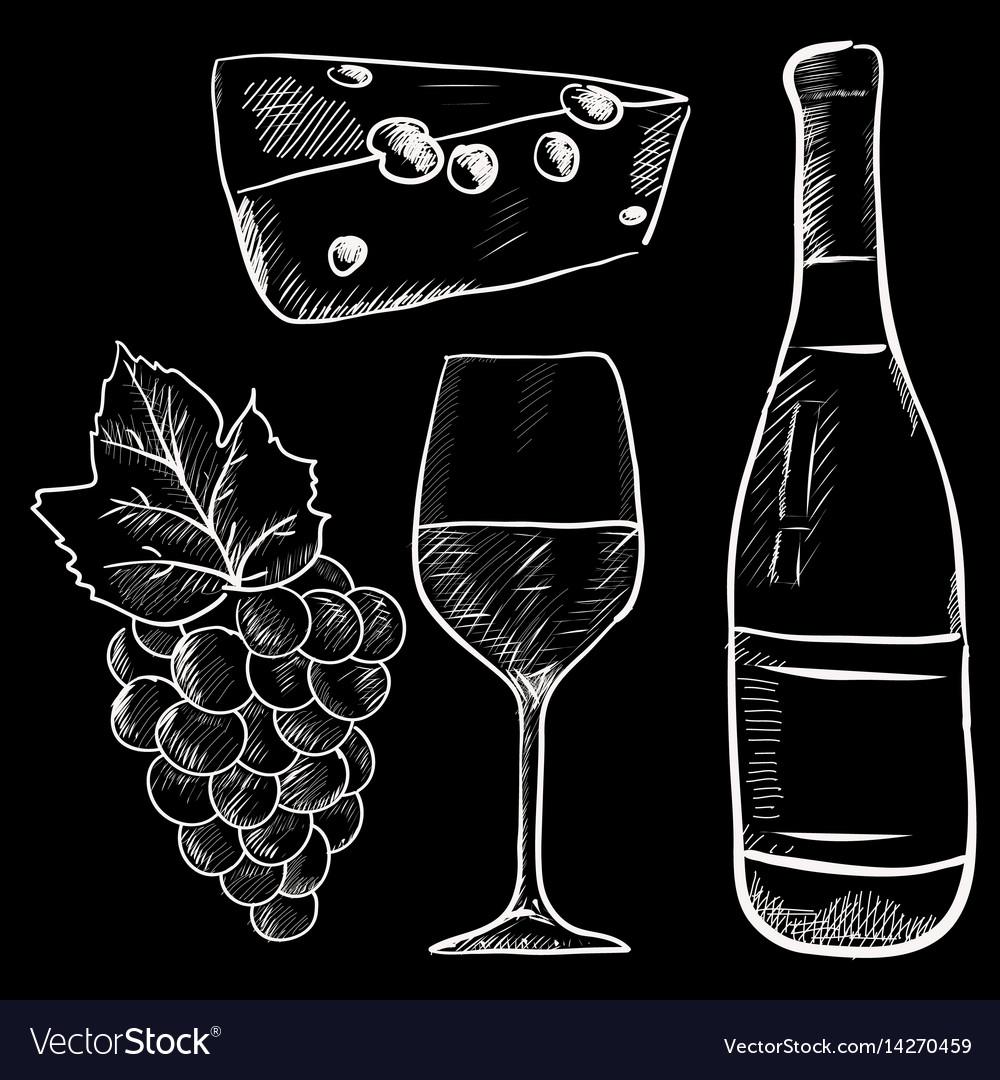 Wine hand drawn sketch chalk on blackboard