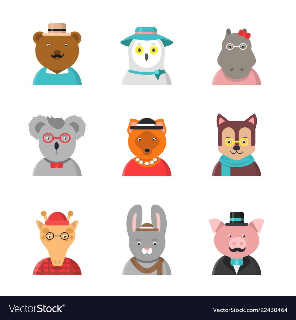 Animal avatars cute hipster animals fox bear dog