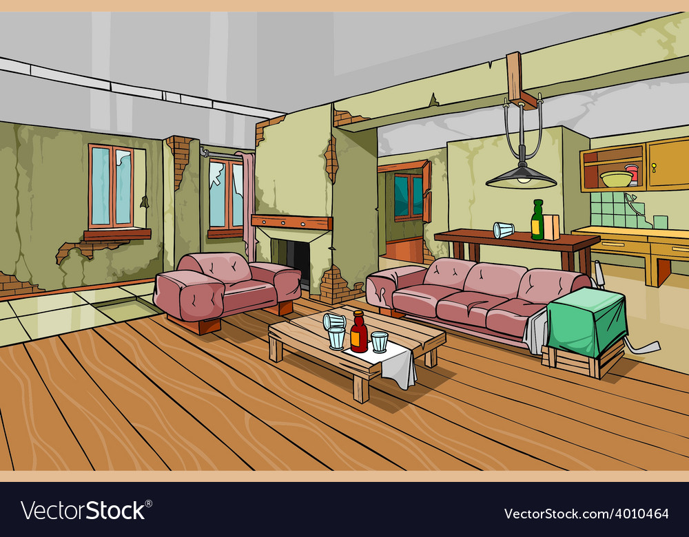 Cartoon Old Shabby Apartment Interior Vector Image
