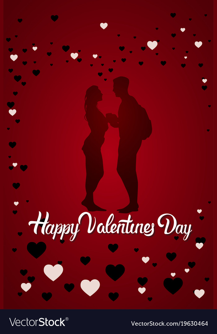 Couple Silhouette Happy Valentine Day Greeting Vector Image