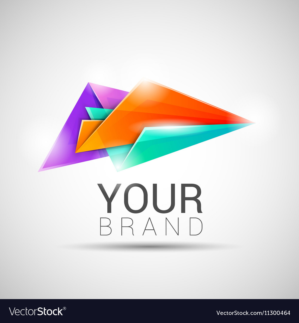 Creative colorful abstract triangles logo design