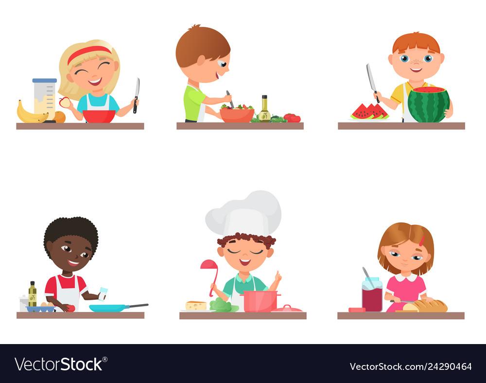 Cute cartoon kids preparing food on the kitchen