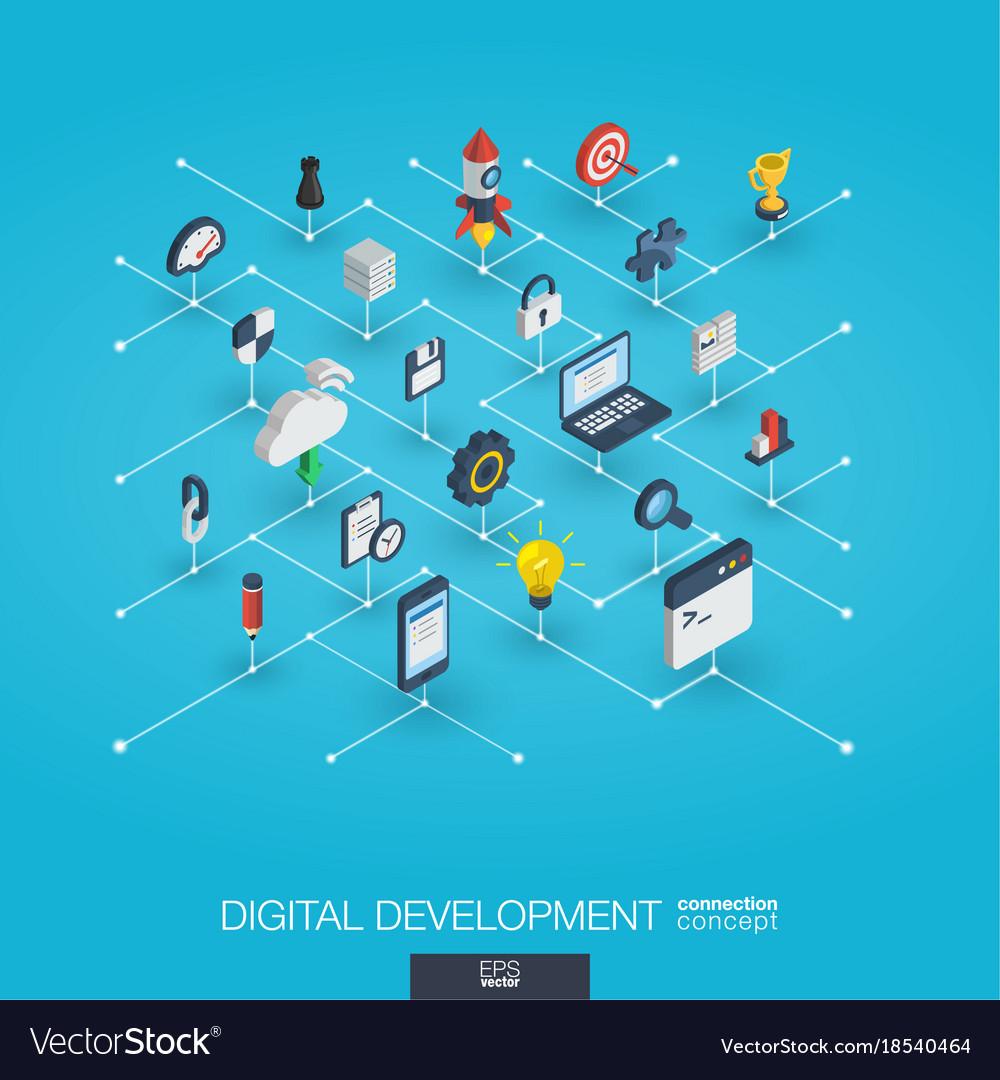 Development integrated 3d web icons digital