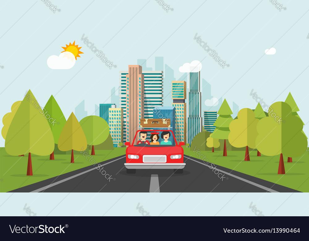 Family travel car flat cartoon style happy